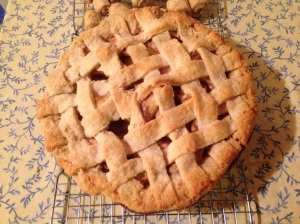 Clearly I'm still working on my lattice-top skills-- those are the roll-ups at the top of the photo there.  Apple Pie Recipe to follow soon!