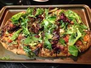 Pesto, Tomato, Mozzarella, Arugula, and Balsamic Reduction