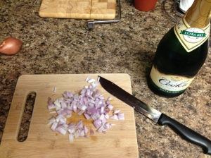 So many tears.  And yes, that's Cook's champagne.  You're cooking with it, don't bother going pricey (Get it?  COOKing? hardy har har)