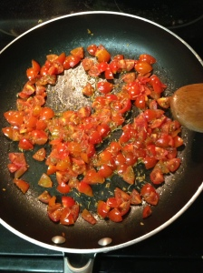 Cook some chopped tomatoes in a teeeeny smidge of oil with pepper, thyme, and rosemary (or whatever other herb suits your fancy).
