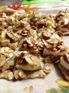 brie, fig jam, and almond crackers