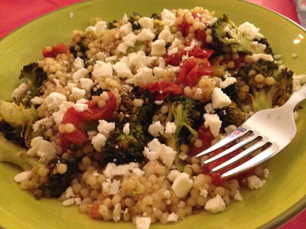 Roasted Broccoli and Tomato Couscous-- with a fork!