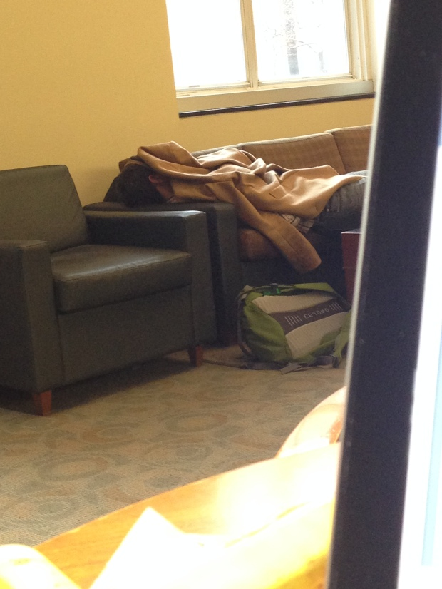But it could be worse.  I could be this guy in the student lounge who TERRIFIED an unsuspecting girl who didn't realize a sleeping human was underneath that coat.  Law students are SO FUN guys.