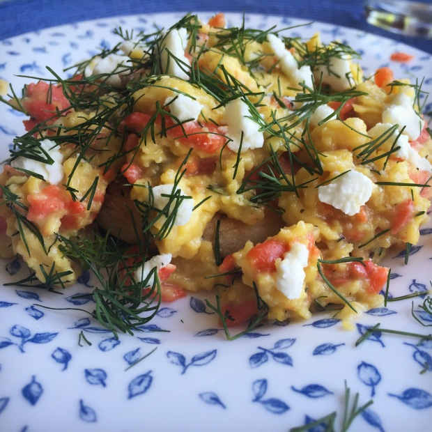 Scrambled eggs with smoked salmon, goat cheese, and fresh dill.  Been dreaming about this every weekend since I made it.  And that was over two months ago. So.